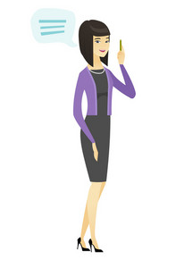 Asian business woman with speech bubble. Young business woman giving a speech. Business woman with speech bubble coming out of her head. Vector flat design illustration isolated on white background.