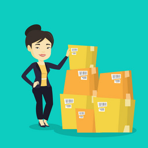 Asian business woman working in warehouse. Business woman checking boxes in warehouse. Young business woman preparing goods for dispatch in warehouse. Vector flat design illustration. Square layout.