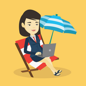 Asian business woman working on the beach. Young business woman sitting in chaise lounge under beach umbrella. Business woman using laptop on the beach. Vector flat design illustration. Square layout.