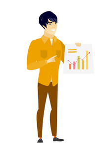 Asian  businessman giving business presentation and showing financial chart. Full length of business man pointing at financial chart. Vector flat design illustration isolated on white background.