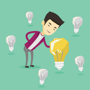 Asian businessman having a great business idea. Young businessman standing among unlit idea light bulbs and looking at the brightest idea light bulb. Vector flat design illustration. Square layout.