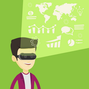 Asian businessman in virtual reality headset looking at the digital display with business graphs. Man in virtual reality headset analyzing visual data. Vector flat design illustration. Square layout.