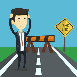 Asian businessman looking at road sign dead end symbolizing business obstacle. Businessman facing with business obstacle. Business obstacle concept. Vector flat design illustration. Square layout.