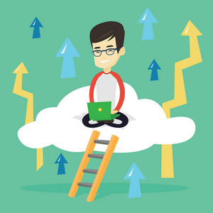 Asian businessman sitting on a cloud and working on his laptop. Excited businessman using cloud computing technology. Cloud computing technology concept. Vector flat design illustration. Square layout