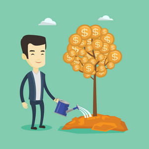 Asian businessman watering money tree. Businessman investing money in business project. Illustration of investment money in business. Investment concept. Vector flat design illustration. Square layout
