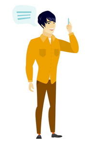 Asian businessman with speech bubble. Businessman giving a speech on conference. Businessman with speech bubble coming out of his head. Vector flat design illustration isolated on white background.
