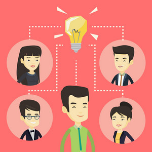 Asian businessmen working on new business ideas. Businessmen discussing business ideas. Group of young businessmen connected by one idea light bulb. Vector flat design illustration. Square layout.