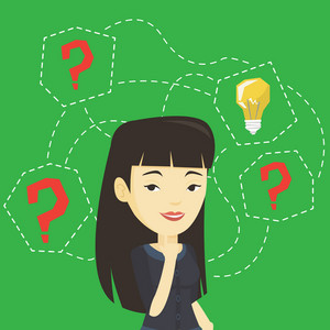 Asian businesswoman having creative idea. Business woman standing with question marks and idea bulb above her head. Successful business idea concept. Vector flat design illustration. Square layout.