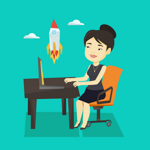 Asian businesswoman looking at business start up rocket. Young cheerful businesswoman working on a new business start up. Business start up concept. Vector flat design illustration. Square layout.