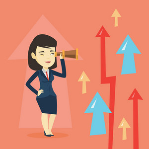 Asian businesswoman looking through spyglass on arrows going up symbolizing business opportunities. Business vision and business opportunities concept. Vector flat design illustration. Square layout.