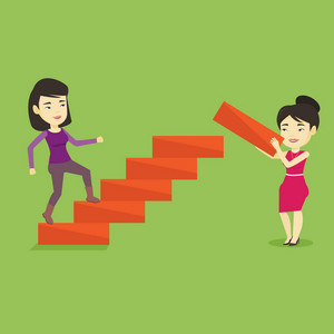 Asian businesswoman runs up the career ladder while another woman builds this ladder. Businesswoman climbing the career ladder. Business career concept. Vector flat design illustration. Square layout.