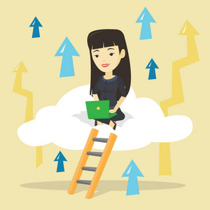 Asian businesswoman sitting on a cloud and working on a laptop. Happy businesswoman using cloud computing technology. Cloud computing technology concept. Vector flat design illustration. Square layout