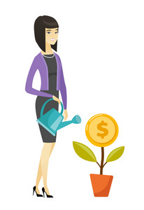 Asian businesswoman watering money flower. Businesswoman investing money in business project. Illustration of investment money in business. Vector flat design illustration isolated on white background