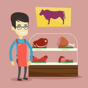Asian butcher offering meat at display in butchery. Butcher at work at the counter in butchery. Butcher standing on the background of storefront. Vector flat design illustration. Square layout.