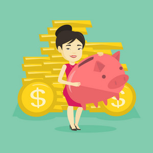 Asian cheerful business woman with a piggy bank. Successful business woman holding a big piggy bank. Young business woman saving money in a piggy bank. Vector flat design illustration. Square layout.