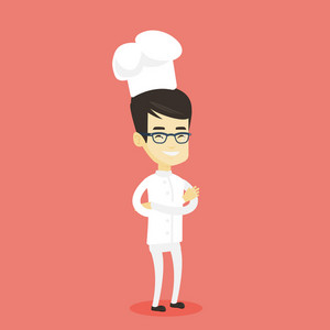 Asian cheerful chief cook in uniform and hat standing with arms crossed. Young asian chef cook. Full length of confident male chief cook. Vector flat design illustration. Square layout.