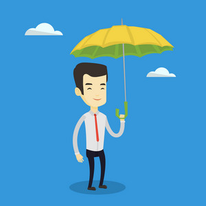 Asian cheerful insurance agent with umbrella. Young insurance agent standing safely under umbrella. Business insurance and business protection concept. Vector flat design illustration. Square layout.