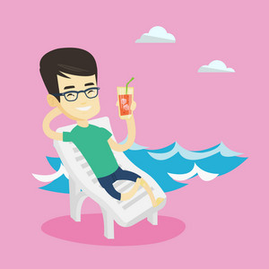 Asian cheerful man drinking a cocktail on a beach chair. Young joyful man sitting on a beach chair. Happy man resting on a beach chair with cocktail. Vector flat design illustration. Square layout.