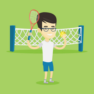 Asian cheerful sportsman playing tennis. Smiling tennis player standing on the court. Male tennis player holding a racket and a ball. Vector flat design illustration. Square layout.