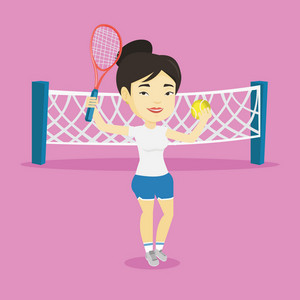 Asian cheerful sportswoman playing tennis. Smiling tennis player standing on the court. Female tennis player holding a racket and a ball. Vector flat design illustration. Square layout.