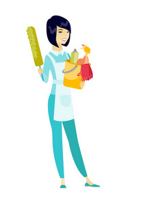 Asian cleaner holding bucket full of cleaning equipment. Full length of professional cleaner with bucket with cleaning supplies in hands. Vector flat design illustration isolated on white background.