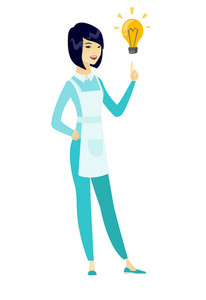 Asian cleaner pointing at bright idea light bulb. Full length of young smiling cleaner having creative idea. Concept of successful idea. Vector flat design illustration isolated on white background.