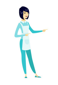 Asian cleaner pointing to the side. Full length of young cleaner pointing her finger to the side. Cleaner pointing to the right side. Vector flat design illustration isolated on white background.