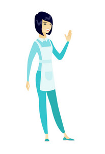 Asian cleaner waving her hand. Full length of young smiling cleaner waving her hand. Cleaner making a greeting gesture - waving hand. Vector flat design illustration isolated on white background.