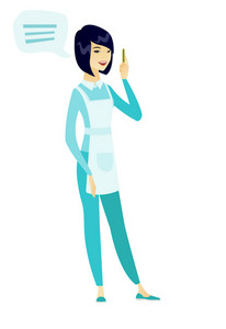 Asian cleaner with speech bubble. Full length of young cleaner cleaner giving a speech. Cleaner with speech bubble coming out of her head. Vector flat design illustration isolated on white background.