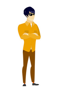 Asian  confident businessman wearing sunglasses. Full length of young business man in sunglasses. Serious bodyguard in sunglasses. Vector flat design illustration isolated on white background.