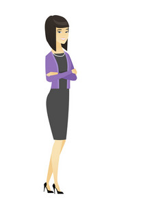 Asian confident smiling business woman standing with folded arms. Full length of young confident business woman with folded arms. Vector flat design illustration isolated on white background.