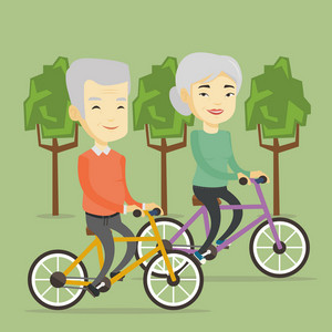 Asian couple riding bikes in park. Senior couple riding on bicycles in park. Retired couple biking. Senior husband and wife enjoying walk with bicycles. Vector flat design illustration. Square layout.