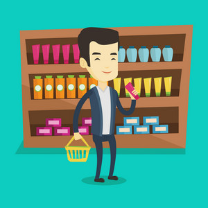 Asian customer shopping at supermarket with basket. Customer holding shopping basket in one hand and a tube of cream in another. Man choosing toiletry. Vector flat design illustration. Square layout.
