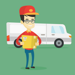 Asian delivery courier holding box on the background of truck. Delivery courier carrying cardboard box. Delivery courier with cardboard box in hands. Vector flat design illustration. Square layout.