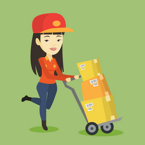 Asian delivery postman with cardboard boxes on trolley. Delivery postman pushing trolley with cardboard boxes. Delivery postman delivering parcels. Vector flat design illustration. Square layout.
