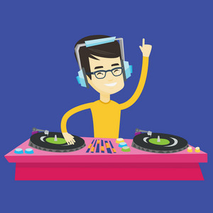 Asian DJ in headphones at the party in night club. Young DJ mixing music on turntables. DJ playing and mixing music on deck. Vector flat design illustration. Square layout.