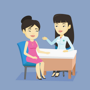 Asian doctor consulting patient in office. Doctor talking to patient. Doctor communicating with patient about her state of health. Health care concept. Vector flat design illustration. Square layout.