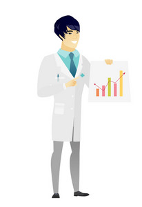 Asian doctor in medical gown giving presentation and showing financial chart. Full length of young doctor pointing at financial chart. Vector flat design illustration isolated on white background.