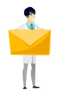 Asian doctor in medical gown holding a big envelope. Full length of doctor holding a big envelope. Cheerful doctor with a big envelope. Vector flat design illustration isolated on white background.