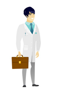Asian doctor in medical gown holding briefcase. Full length of young doctor with briefcase. Widely smiling doctor holding a briefcase. Vector flat design illustration isolated on white background.