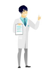 Asian doctor in medical gown holding clipboard and giving thumb up. Full length of young doctor with clipboard. Doctor showing clipboard. Vector flat design illustration isolated on white background.