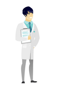 Asian doctor in medical gown holding clipboard with documents. Full length of young doctor with documents. Doctor holding documents. Vector flat design illustration isolated on white background.