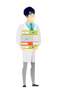 Asian doctor in medical gown holding pile of folders and papers. Full length of doctor with folders. Young doctor with folders and files. Vetor flat design illustration isolated on white background.