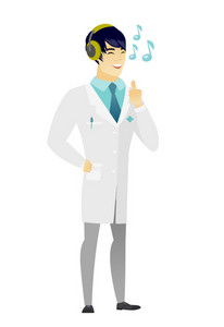 Asian doctor in medical gown listening to music in headphones. Full length of doctor with closed eyes listening to music in headphones. Vector flat design illustration isolated on white background.