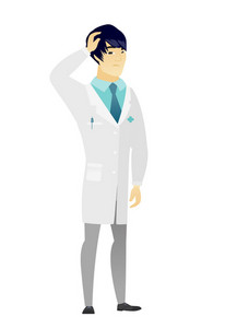Asian doctor in medical gown scratching his head. Full length of thoughtful doctor scratching head. Puzzled doctor scratching his head. Vector flat design illustration isolated on white background.