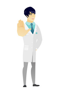 Asian doctor in medical gown showing palm hand. Full length of young doctor showing palm hand. Doctor making stop gesture by his palm. Vector flat design illustration isolated on white background.
