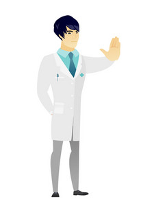 Asian doctor in medical gown showing stop hand gesture. Full length of doctor doing stop gesture. Serious doctor with a stop gesture. Vector flat design illustration isolated on white background.