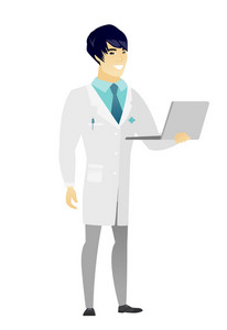 Asian doctor in medical gown using laptop. Full length of young smiling doctor working on a laptop. Cheerful doctor holding a laptop. Vector flat design illustration isolated on white background.
