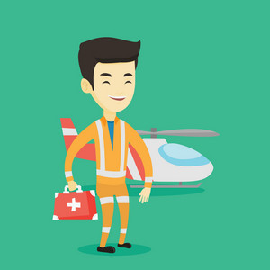 Asian doctor of air ambulance. Young doctor of air ambulance standing in front of rescue helicopter. Doctor of air ambulance holding first aid box. Vector flat design illustration. Square layout.