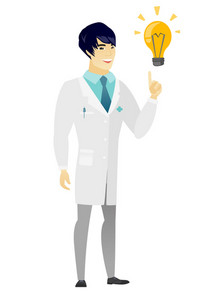 Asian doctor pointing at bright idea light bulb. Full length of young doctor having a creative idea. Doctor came up with a great idea. Vector flat design illustration isolated on white background.